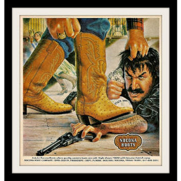"1980 Nocona Western Boots Ad ""Outlaw Robber Art"" Vintage Advertisement Print"