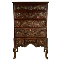18th-C. English Oak Highboy