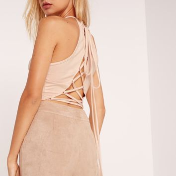 Missguided - Faux Suede Lace Up Back Crop Top Nude