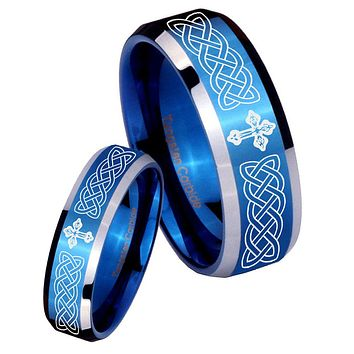 His Her Shiny Blue Bevel Celtic Cross Two Tone Tungsten Wedding Rings Set