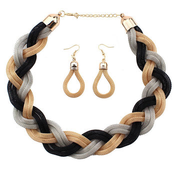 Vintage Jewelry Sets 5 Colors Fashion Alloy Weave Twist Chain Necklaces Earrings Sets Prom Club Party jewelry Set
