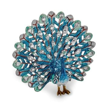 Bejeweled Blue Peacock Trinket Box with Charm Pendant