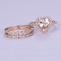 Heart Morganite Engagement Ring Trio Sets Pave Diamond Wedding 14K Rose Gold 9mm