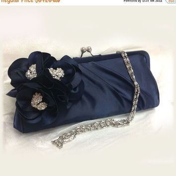 Wedding clutch, Bridesmaid clutch, Navy blue clutch, evening bag, Bridesmaid bag, crystal clutch, flower bag