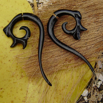 Fake Gauge Earrings ,Organic Black Horn, Split Gauge Earrings Fancy ,hand made,tribal style