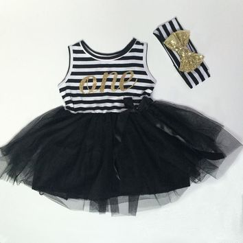 Baby Girls First Birthday  Dress Gold with Bow