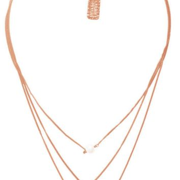 Delicate Pendant Layered Long Necklace in Rose Gold