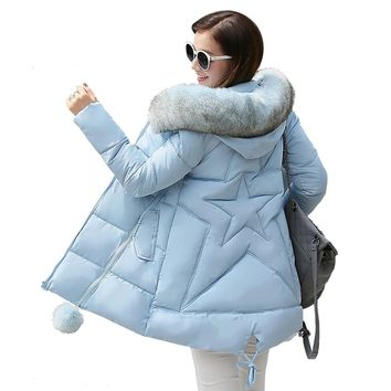 New winter jacket women long coat female ladies overcoat Parka fur collar Cotton Padded Warm Coat Plus Size High Quality