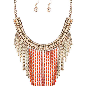 Orange Tasseled Chain Necklace and Earrings