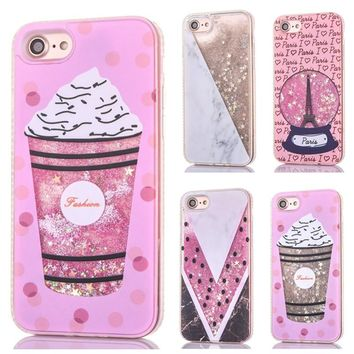 Cute Ice Cream Liquid Case for iPhone 6 6s 7 8 Plus Glitter Back Cover Luxury Crystal Tower Phone Case for iPhone 8 7 6 S Coque
