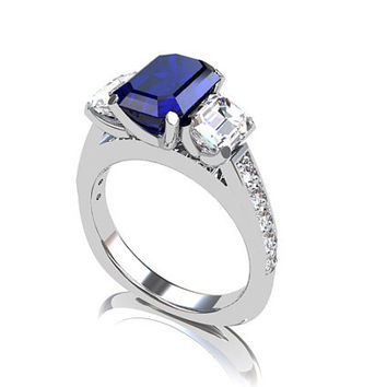 Blue sapphire engagement ring, diamond ring, emerald cut engagement, trinity ring, three stone, blue engagement, white gold