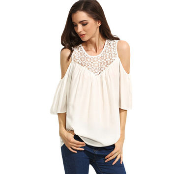 White Hollow Out Round Neck Cold Shoulder Blouse Top