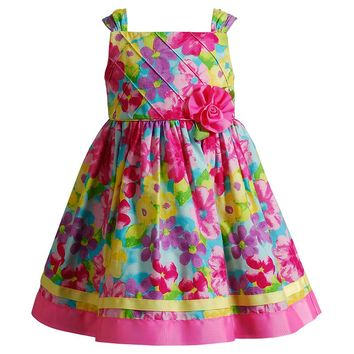 Youngland Flower Poplin Dress - Baby Girl, Size: