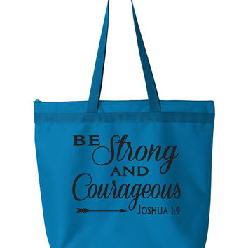 Be Strong and Courageous Tote Bag. Joshua 1:9. Large Inspirational Tote Bag. Shopping Tote Bag. Workout Bag. Grocery Bag. Fitness Tote.