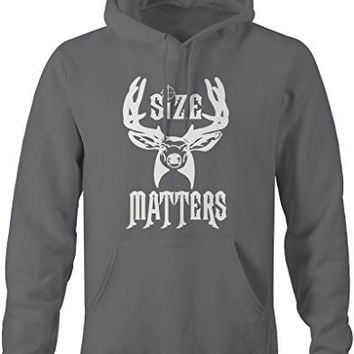 Shirts By Sarah Men's Funny Hunting Hoodie - Size Matters Deer Sweatshirts