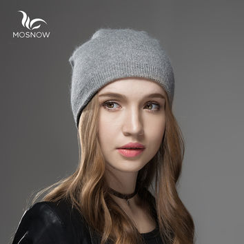 Mosnow 2016 New Solid Wool Winter Hats For Women Asymmetrical Knitted Vogue Brand Casual Warm Hat Female Skullies Beanies