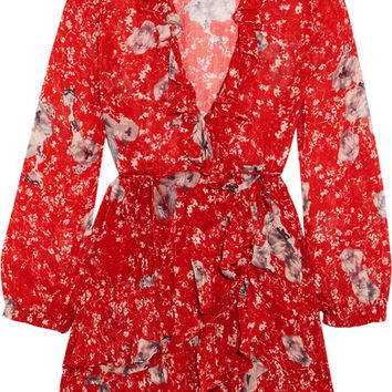 IRO - Vera ruffled floral-print georgette wrap mini dress