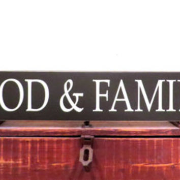 Food and Family distressed wood sign - over the door entryway decor or for any room wall hanging