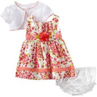 Youngland Baby-Girls Newborn Shantung Dress With Crochet, Pink/Multi, 3-6 Months