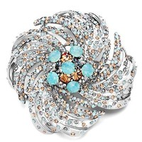 Pugster Turquoise Swarovski Crystal Floral Roundes Brooches And Pins:Amazon:Jewelry