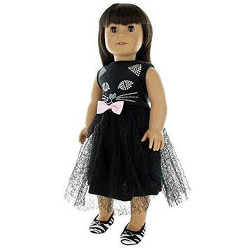 "Doll Clothes Fits American Girl 18"" Inch Outfit Cute Cat Black Dress"