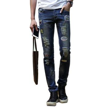 Slim Fit Jeans Destroyed Ripped Design Denim Pants For Men Streetwear