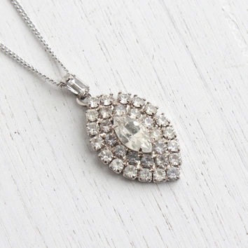Vintage Rhinestone Pendant Necklace - 1950s Silver Tone Glass Stone Crystal Costume Jewelry / Faux Diamond Pendant