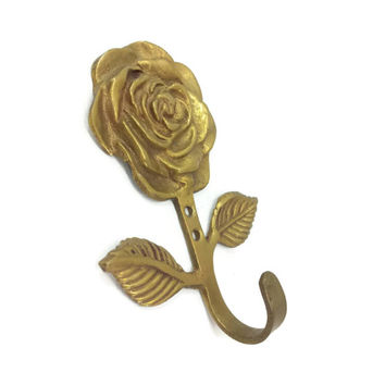 Vintage Brass Rose Wall Hook, Coat Hat Key Hanger, Decorative Hook, Towel Holder, Bathroom Wall Decor, Ornate, Gothic, French Country