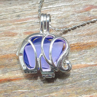 Mixed Sea Glass  Elephant Locket Necklace Lilac Purple And Cobalt Blue Combo