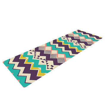 "Louise Machado ""Ethnic Color"" Teal Purple Yoga Mat"