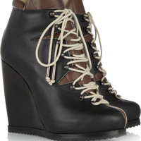 Pierre Hardy|Lace-up leather wedge ankle boots|NET-A-PORTER.COM
