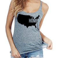 Home America Women racerback tank top made in usa