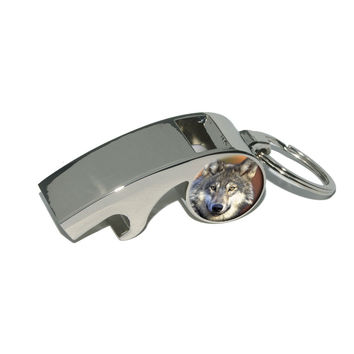 Gray Wolf with Fall Background Whistle Bottle Opener Keychain