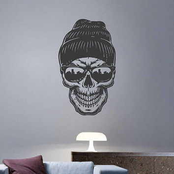 kik3243 Wall Decal Sticker skull sunglasses living room bedroom