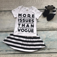 new summer black white striped baby Girls more issues than vogue skirt outfits cotton dress set boutique matching accessories