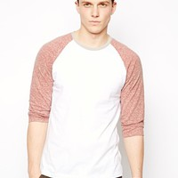 ASOS 3/4 Sleeve T-Shirt With Contrast Sleeves In Neppy Fabric - White/