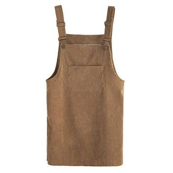 Khaki Corduroy Pinafore Dress With Pocket