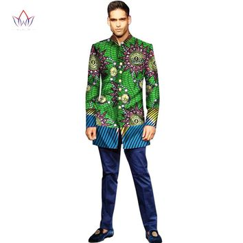 BRW Mens African Clothing Long Sleeve Dashiki Print Coats Fashion Trenchs Fit Turn-down Collar Jackets Coats Africa Style WYN290