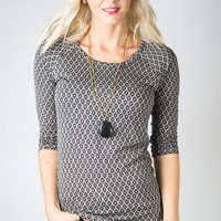 A Moment's Notice Top - Grey Geo Print