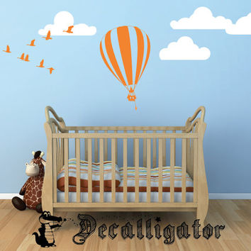 Wall Decal - Adorable Hot Air Balloon, Geese, & Clouds - Cute Vinyl Wall Art for Baby Nursery or Kids' Rooms [006]