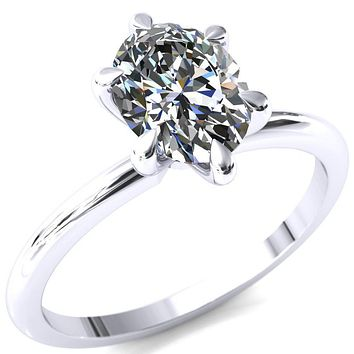 Gracey Oval Moissanite 6-Claw Prong Engagement Ring