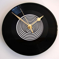 "Vertigo Swirl CLOCK made from a recycled 7"" single. Classic Heavy Metal label for fans of Black Sabbath, Metallica and Rod Stewart men women"