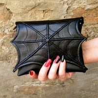 Spider web makeup cosmetic bag for purse, faux leather make up bag, cosmetic spider bag, vegan bag,halloween