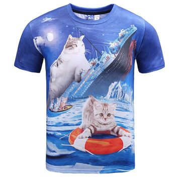 Kitty Cat Chilling on the Titanic Photoshopped Graphic Print T-Shirt