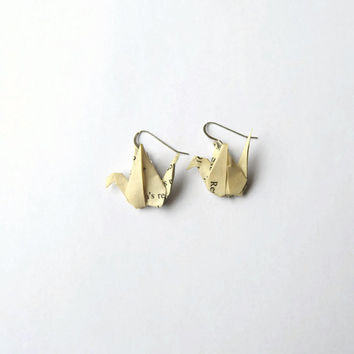 Eco friendly origami crane earrings - Paper bird earrings - Sterling silver earwires - Recycled book - Asian inspired style
