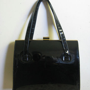 Vintage 1950s Kelly Style Handbag Black Patent Leather Suede Lined Purse