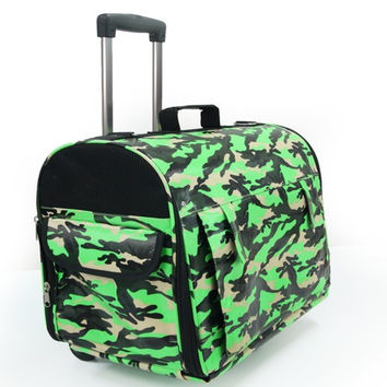 Free shipping Lovabledog dorgan plus size trolley luggage neon Camouflage waterproof fabric dog backpack  New 2014