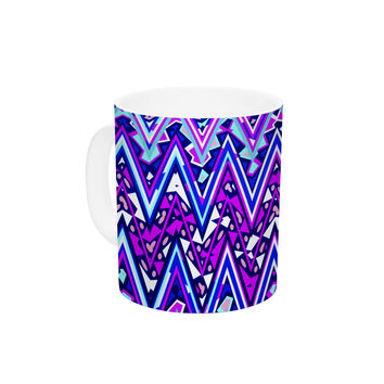 "Nika Martinez ""Blue Electric Chevron"" Ceramic Coffee Mug"