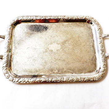Large Silver Plate Serving Tray, Square Drinks Tray, Barware Vintage Wedding Table Decor, Shabby Chic, Butlers Bar Tea Tray, Serveware
