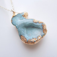 Mushroom Druzy Necklace in Aqua Blue